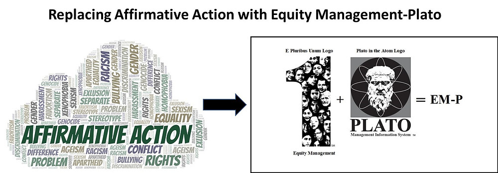 This image depicts the process of replacing affirmative action with Equity Management-Plato