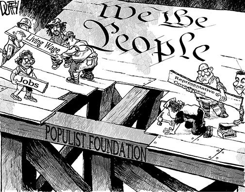 The American people laying the populist foundation of the United States Constitution