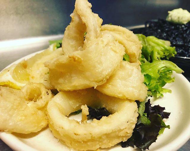 Perfect rings of  crispy fried calamari