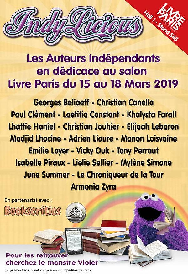 affiche salon Livre paris 2019 azuteurs dédicaces