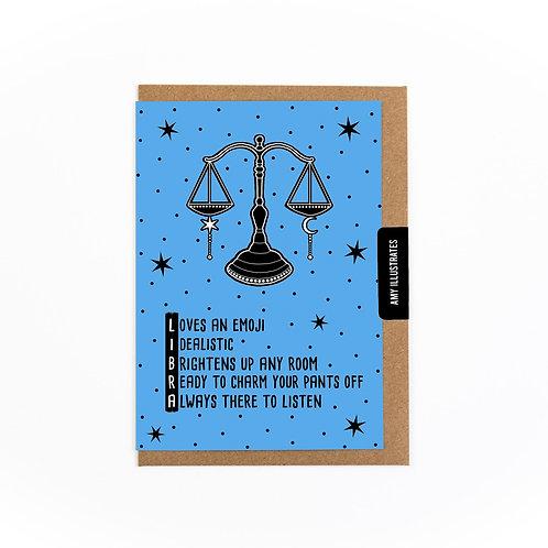 Libra Zodiac Greetings Card