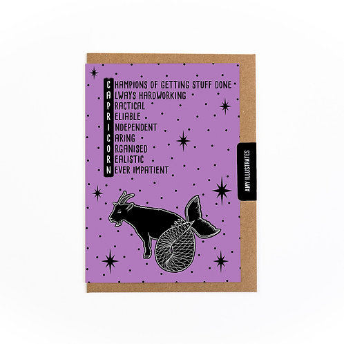 Capricorn Zodiac Greetings Card