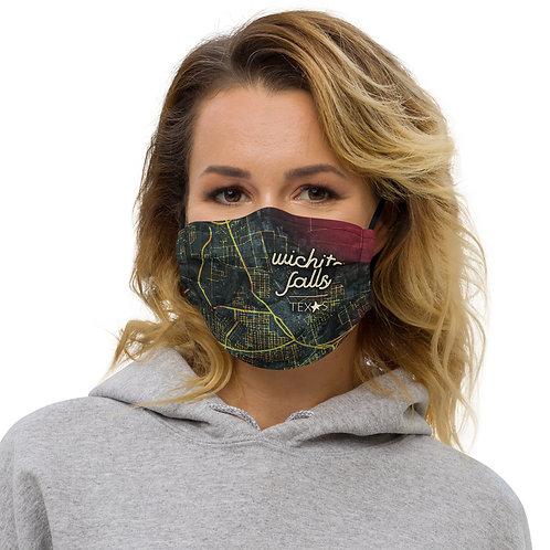 Wichita Falls Map Premium face mask
