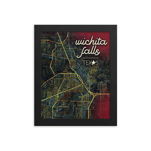 Framed Wichita Falls Map poster