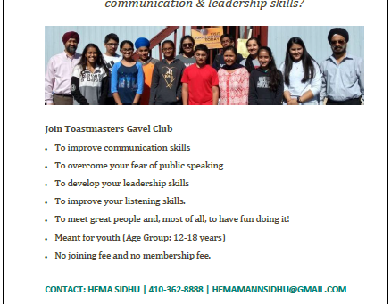 Youth Khalsa ToastMasters – 2nd & 4th Sundays