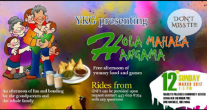 Hola Mahala Hangama on Sunday, March 12, 2pm to 4pm at Marilyn Praisner Community Center in Burtonsv
