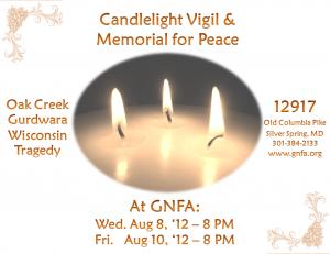 Oak Creek Wisconsin Gurdwara Tragedy – Candlelight Vigil and Memorial at GNFA Wednesday August