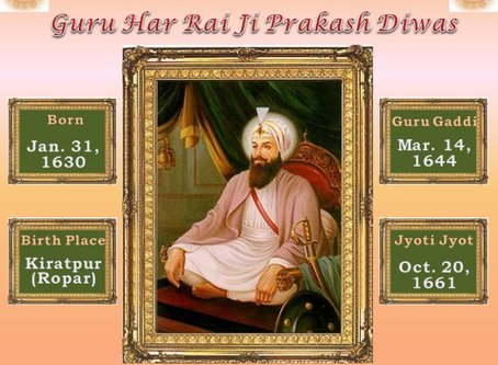 Guru Har Rai Parkash Purab – Jan 29, 2018