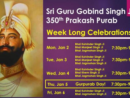 Sri Guru Gobind Singh Ji's 350th Prakash Purab – Jan 5, 2017