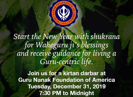 Special Kirtan Darbar at GNFA-Dec 31