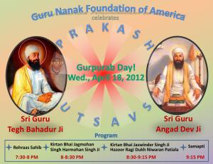 Prakash Utsav Guru Tegh Bahadur Ji and Guru Angad Dev Ji, Apr 18 2012