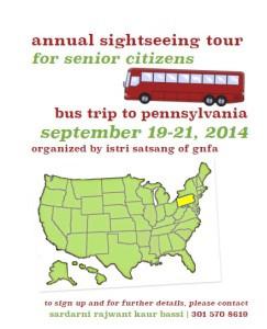 Annual Senior Citizens Bus trip to PA Sept 19-21 2014