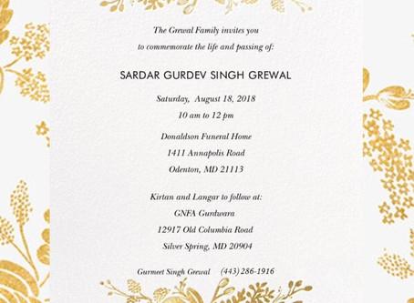 Commemorating the life of Sardar Gurdev Singh Grewal
