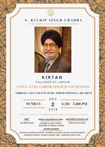 Remembering S. Kuldip Singh Chadha