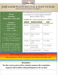 Japji Sahib Paath Recital and Gurbani Vichar September 22, 2012