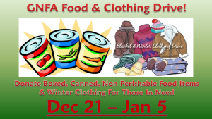 GNFA Food and Clothing Drive!
