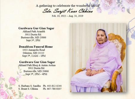 Celebrating the life of Sardarni Surjit Kaur Chinna