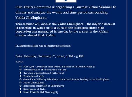 Vadda Ghallughara Seminar- Feb 1, 2020