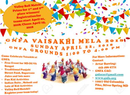GNFA Vaisakhi Mela- Sunday, April 22, 2018