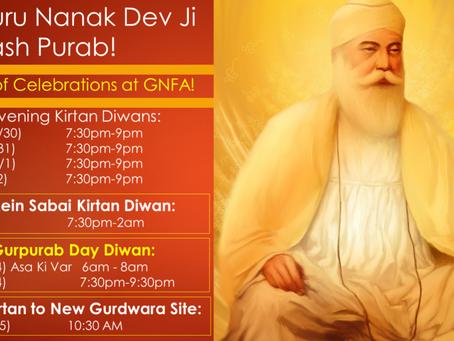 Sri Guru Nanak Dev Ji – Prakash Purab – 7 days of Celebrations at GNFA!
