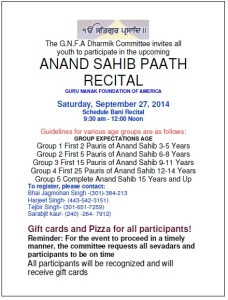 Anand Sahib Paath Recital September 27th, 2014