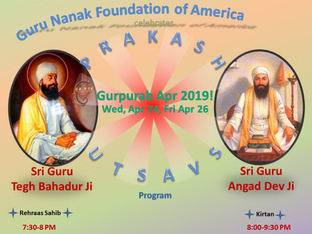 Gurpurab April 2019 – Apr 24 & 26