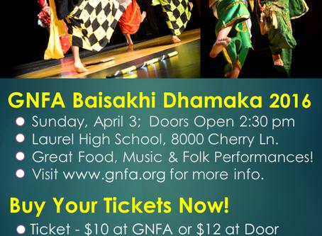 GNFA Baisakhi Dhamaka 2016 – Sunday April 3,2016