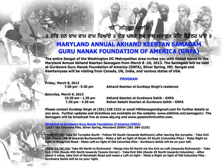 Maryland Annual Akhand Kirtan Samagam – March 8 – 10