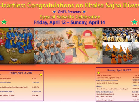 Special Vaisakhi Celebration – Friday April 12 – Sunday April 14