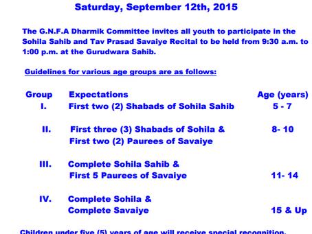 Updated: Sohila Sahib and Tav Parsad Recital – September 12th 2015