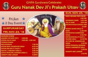 Guru Nanak Dev Ji's Prakash Utsav Celebrations at GNFA 23rd and 25th Nov.