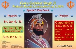 Guru Gobind Singh Ji's Prakash Purab 1/4/2013 – 1/6/2013