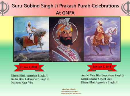 Guru Gobind Singh Ji Prakash Purab Celebrations at GNFA
