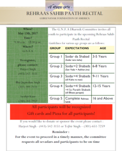 Rehraas Sahib Paath Recital May 13 2017