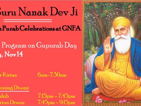 Guru Nanak Dev Ji Prakash Purab – 3 day Special Event – 11,13,14 Nov 2016