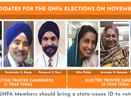 GNFA Annual Elections – Sunday Nov 17, 2019
