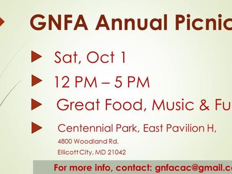 GNFA Annual Picnic – Oct 1 2016