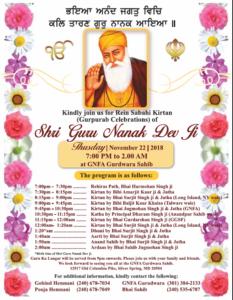 Guru Nanak Dev Ji Prakash Purab Celebration at GNFA Nov 22-25