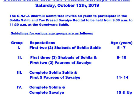 Sohila Sahib and Tav Prasad Savaiye Recital – Oct 12, 2019