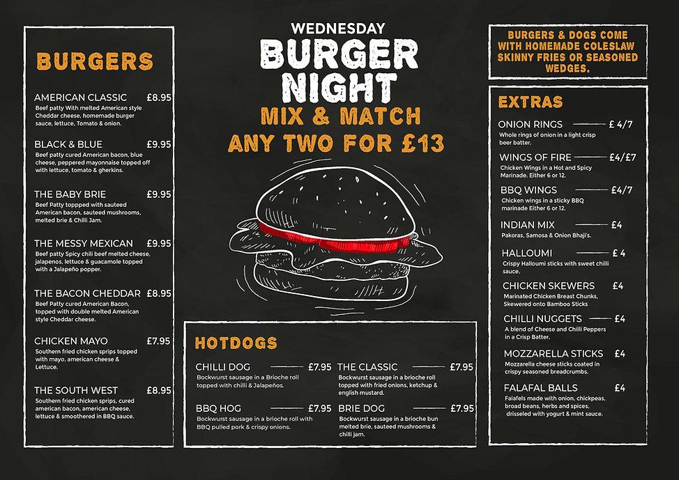 burger night menu