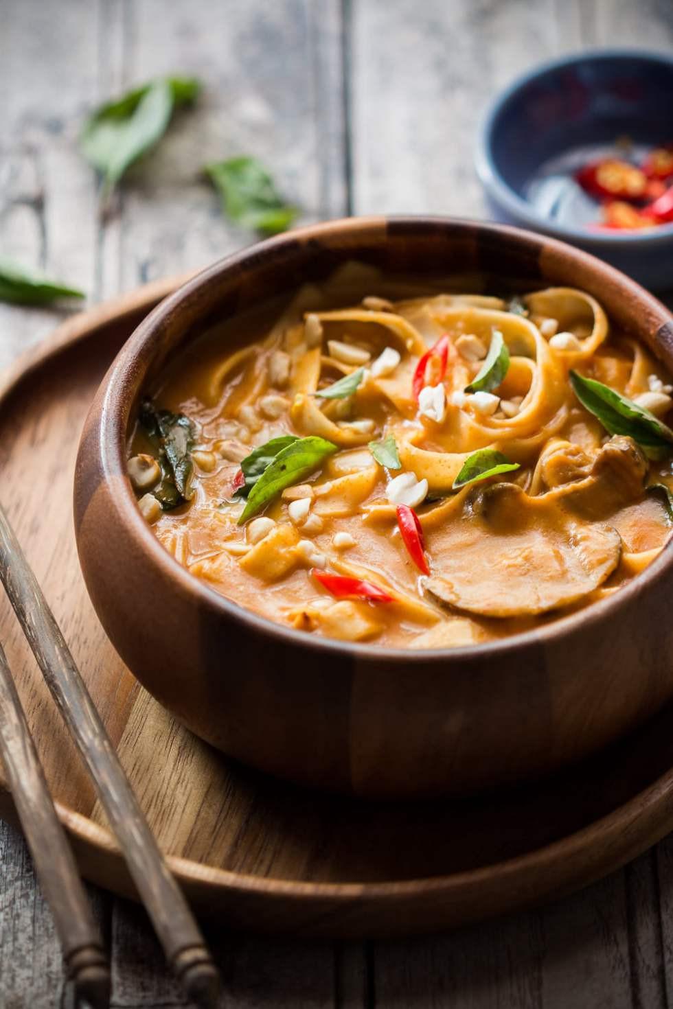 Spicy Thai Pumpkin Noodle Soup