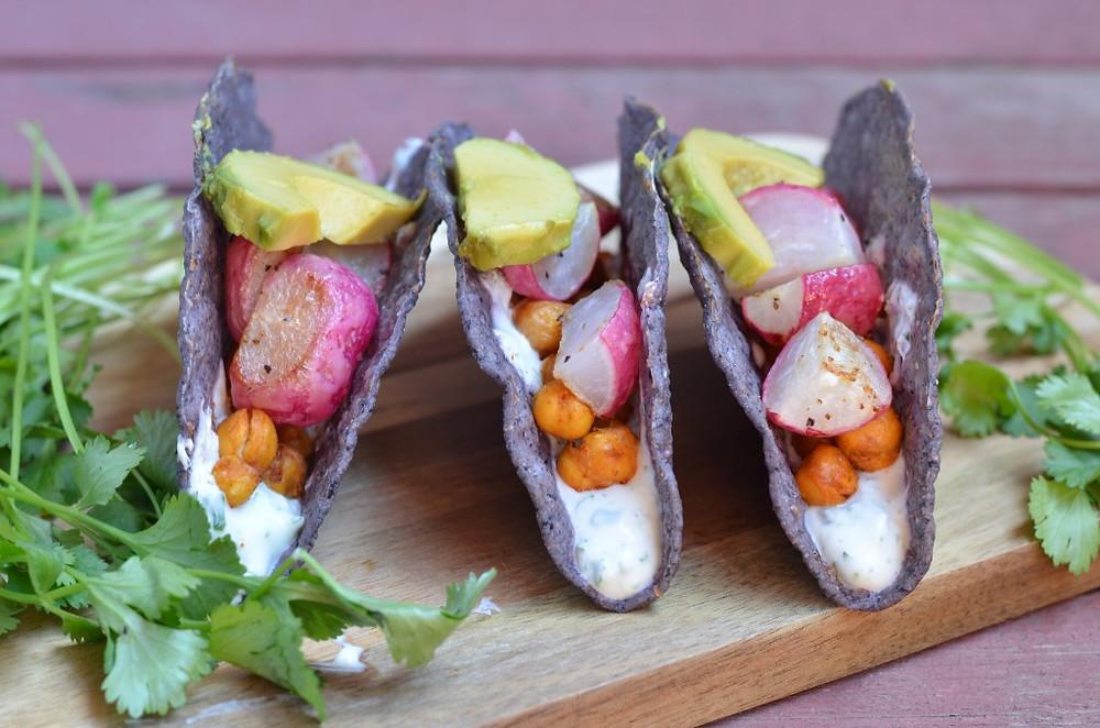 Crispy Crunchy Roasted Radish & Chickpea Tacos