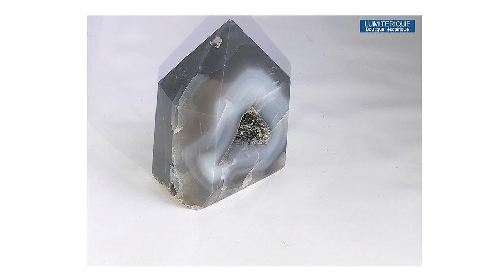Pointe de cristal d'Agate grise
