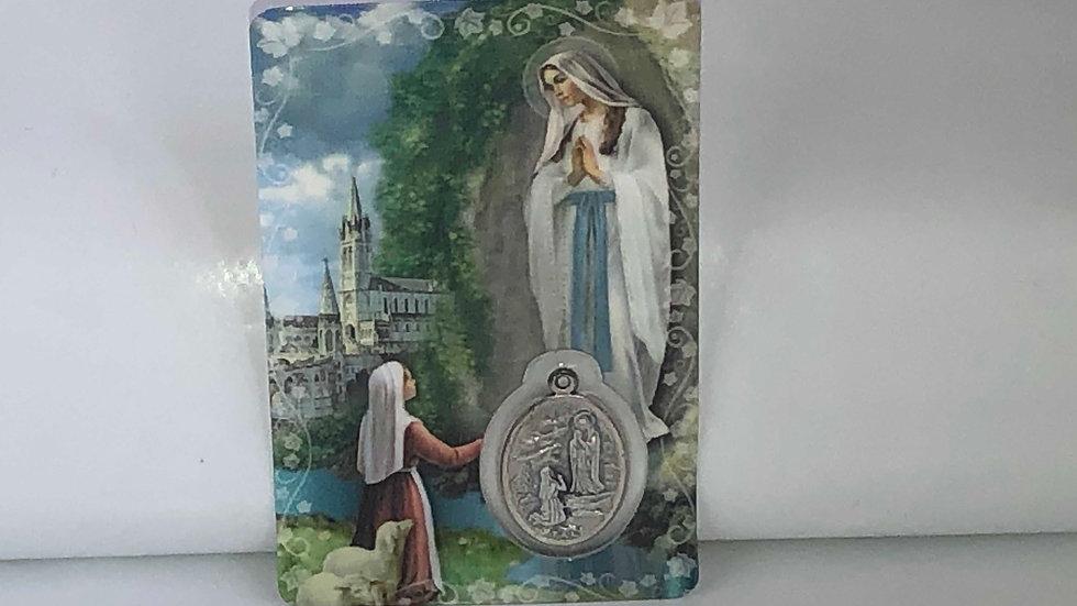 Carte de prière Notre Dame de Lourdes