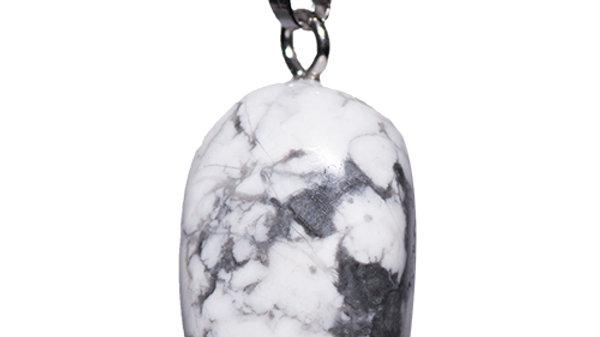 Pendentif pierre roulée Howlite Blanche bélière