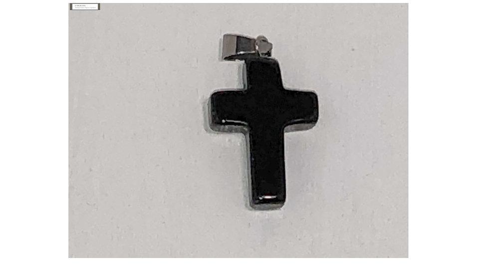 Croix religieuse en pierre Obsidienne noire