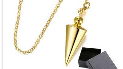 Pendule cône métal doré