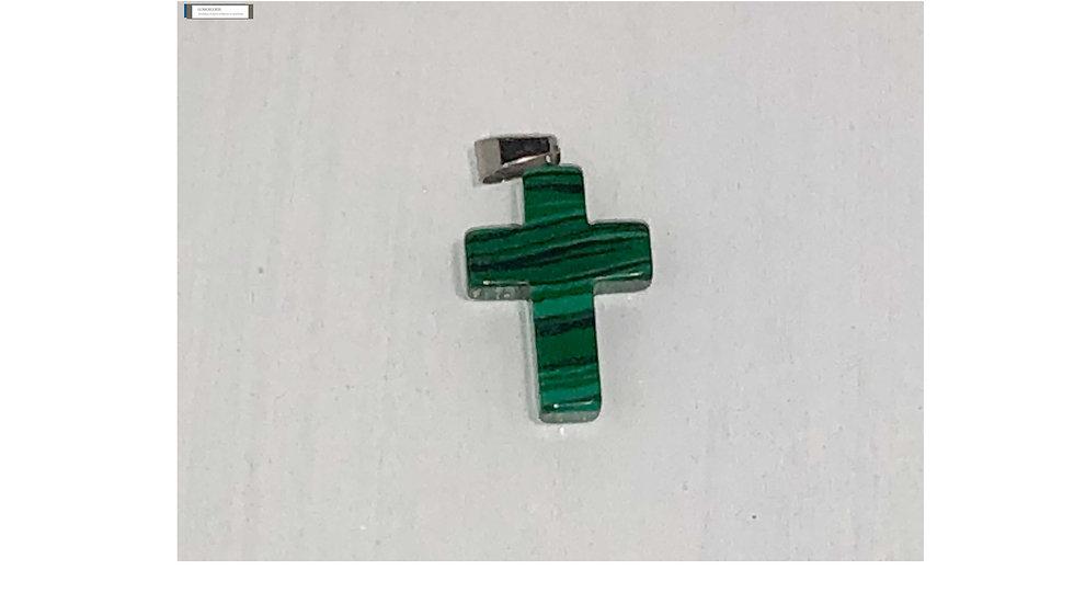 Croix religieuse en pierre Malachite