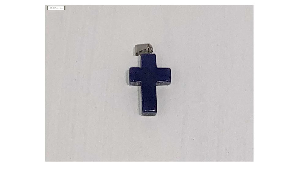 Croix religieuse en pierre Agate bleu