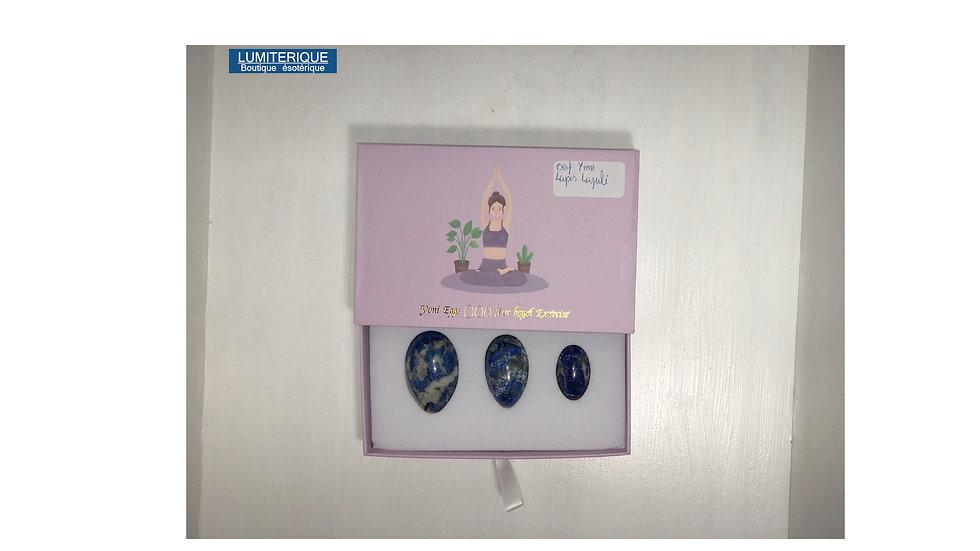 Coffret 3 Oeufs de Yoni en Lapis Lazuli